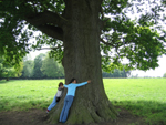 deborah hugging oak tree